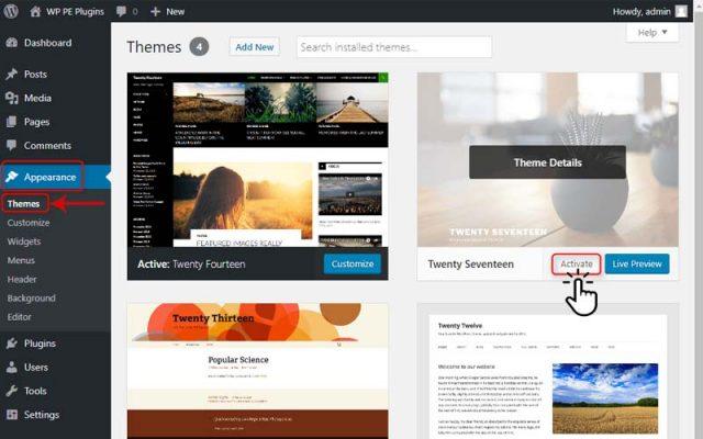 change the WordPress theme