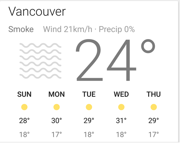 weather forecast smoke